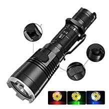 Nitecore Tactical Flashlight, MYBDJ NITECORE MH27 LED LED Rechargeable Flashlight 462m Long Light Shot Tactical Portable Waterproof Torch Lamp Location Beacon SOS Strobe Modes For Outdoor Hunting Camping Gear Law Enforcement Military