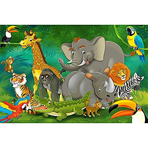 Sdefw Great-Art Poster Sunset in Africa Nursery Boys Girls Animal Silhouettes Nature Deco Steppe Wall Decoration Mural Savanna Motif Jungle_Cartoon 152.5X104Cm
