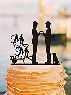 Mr And Mrs Personalized Date 2 Grooms Wedding Cake Toppers With Dog Gay Topper