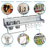 Pot Pan Rack, Plumeet Multifunctional Wall Hang Kitchen Rack with Shelves, Spice Rack, Kitchen Storage Shelf, Various Hanger Hooks & Pot Organizers for Kitchen Organization