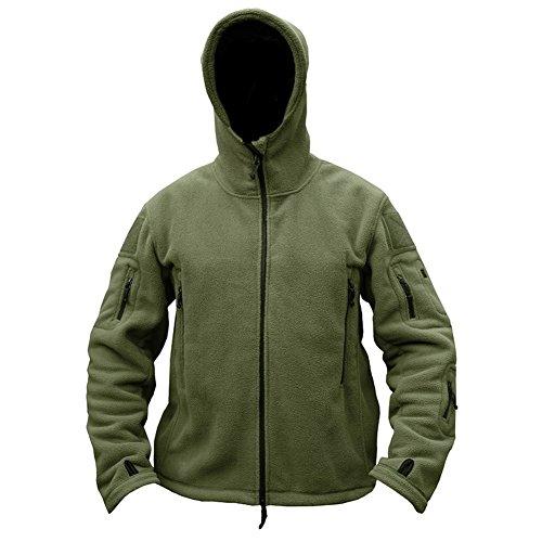 ReFire Gear Men's Warm Military Tactical Sport Fleece Hoodie Jacket, Army Green, X-Large by ReFire Gear (Image #2)
