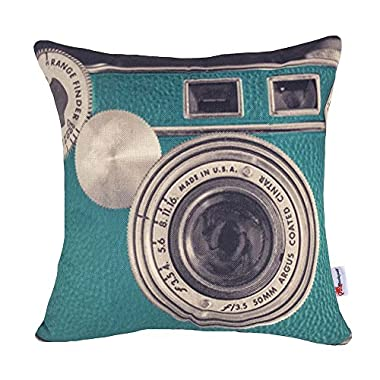 Monkeysell Printing Various Types of Vintage Camera Pattern Linen Personalized Cushion Sofa Home Decor Design Throw Pillow Case Cushion Covers Square 18 x 18 Inch