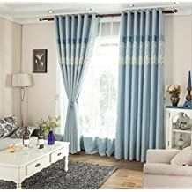 GFYWZ Cotton and linen Thickened Blackout Stitching Modern simplicity Solid color Curtains Bedroom living room decoration Window Drapes Yarn , blue , A