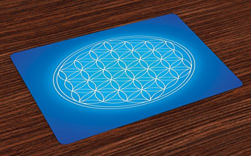 - Ambesonne Geometry Place Mats Set of 4, Flower of Life Grid Pattern Consisting of Types Overlapping Circles Theme, Washable Fabric Placemats for Dining Room Kitchen Table Decor, White Blue