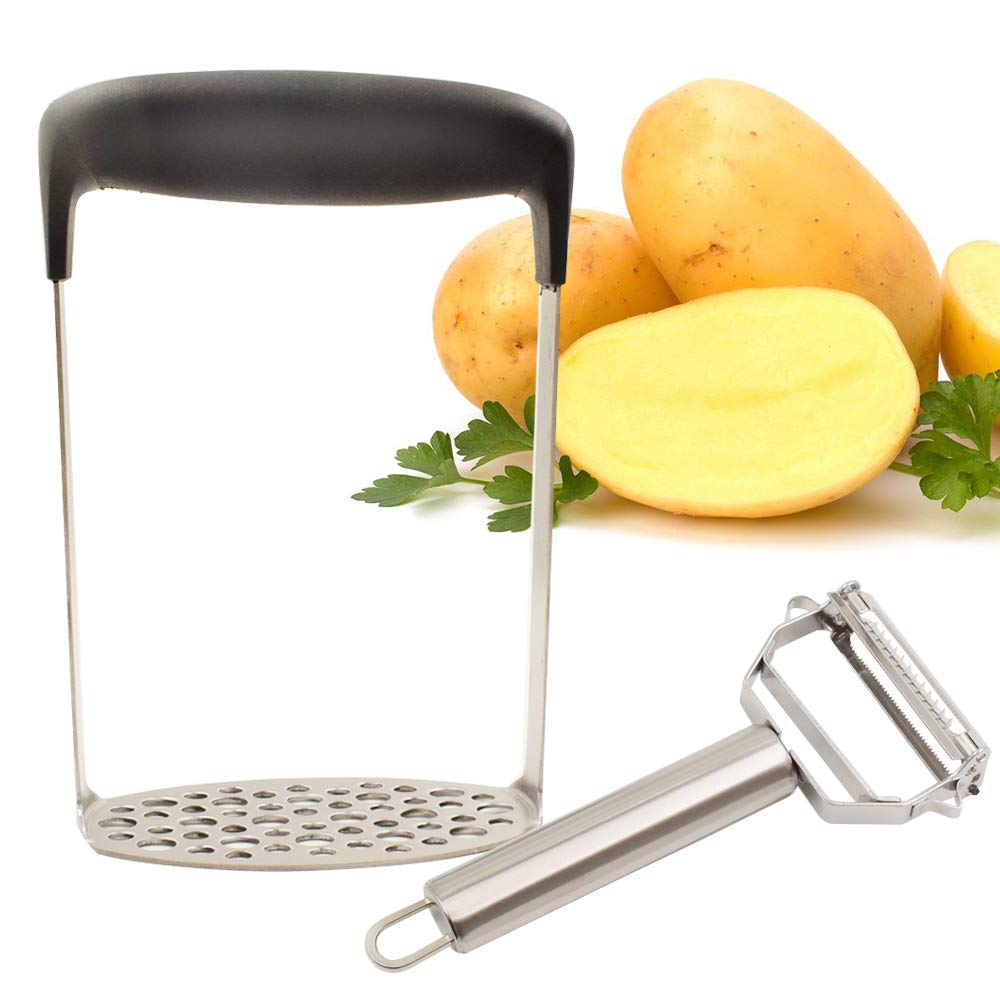 Stainless Steel Potato Masher with Broad and Ergonomic Horizontal Handle, With Potato Peeler for Smooth Mashed Potatoes,Vegetables and Fruits