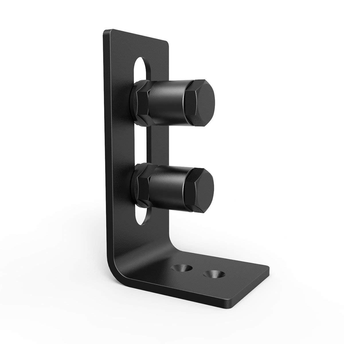 Barn Door Floor Guide Stay Roller - New Designed Stainless Sliding Door Hardware Adjustable Wall Mount Roller Guides for Pocket Door, Cabinets, Sliding Wood Doors (Black) by HOMEWINS (Image #3)