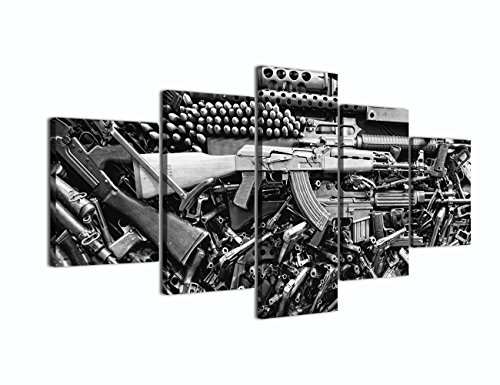 Damaged Weapon Gun Canvas Print Pictures Framed, Modern Contemporary Paintings on Canvas Posters and Prints Wall Art for Living Room Bedroom Home Decor Gallery-wrapped Art 5 Piece Set (60''W x -