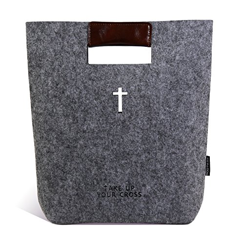 Christian Bible Tote Bag Womens Bible Cover Case Holy Bible Carrying Bag for Women with Handles, Dark (Bible Case)