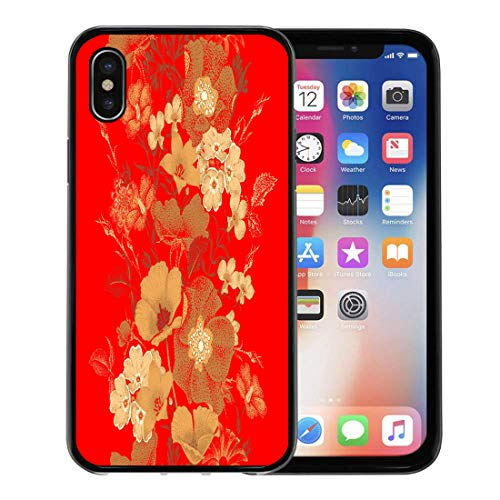Emvency Phone Case for Apple iPhone Xs Case/iPhone X Case,Garden Flowers in Chinese Lacquer Miniature Gold Color Soft Rubber Border Decorative, - Lacquer Flower