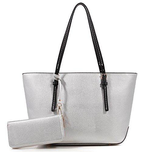 Lily Jane Amber Zippered Tote Shoulder Bag with Matching Clutch Wallet - 2 Item Set (Silver/Black)