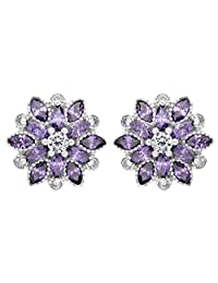 EleQueen 925 Sterling Silver Cubic Zirconia Flower Snowflake Stud Earrings 15mm
