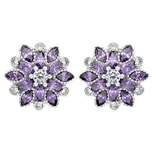 (EleQueen 925 Sterling Silver Full Cubic Zirconia Bridal Flower Stud Earrings 15mm Amethyst Color)