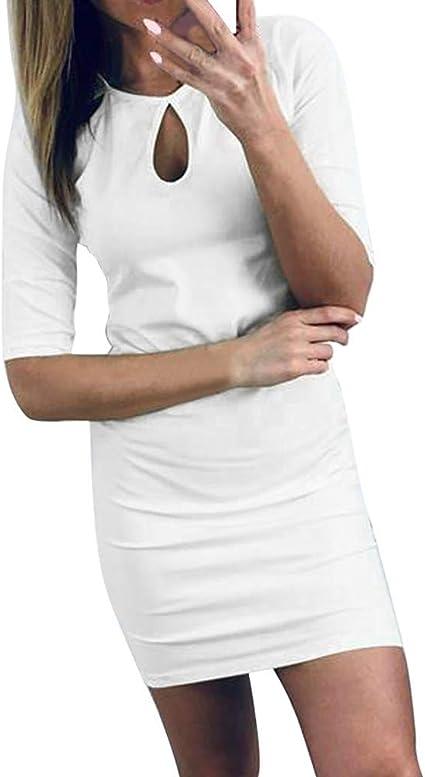 Vestidos Manga Corta Ajustados Mujer Blanco Casual Elegante ...