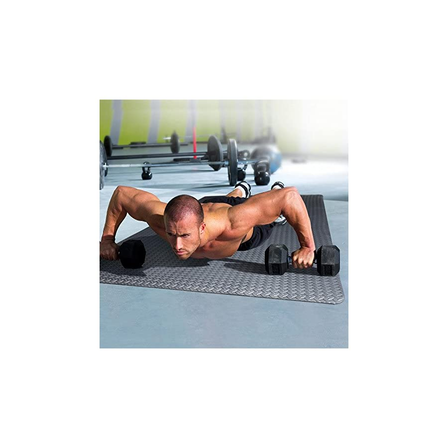 Lightweight and Water Resistant Antimicrobial EVA Foam Exercise Mat, Black