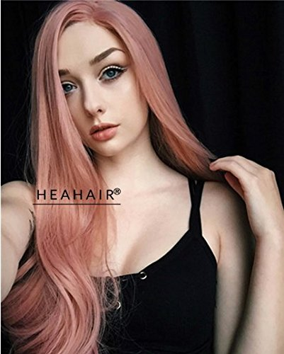 heahair® color oro rosa Pelucas Largo Recto Natural Pelo Sintético Lace Front Peluca Rosa