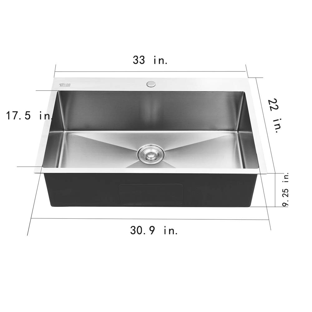 Bonnlo 33-inch 16 Gauge Topmount Stainless Steel Kitchen Sink Single Bowl w/Strainer, Scratch Protector Grid & Adjustable Dish Tray by Bonnlo (Image #1)