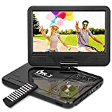 DR. J Professional 12.5' Portable DVD Player with 5 Hours Rechargeable Battery, 10.1' Internal Swivel Screen, Region Free, SD Card Slot, USB Port, 1.8m Car Adapter and Battery Adapter-Black