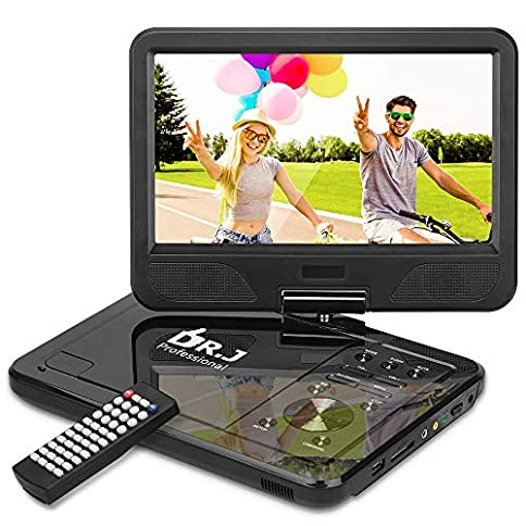 "DR. J Professional 12.5"" Portable DVD Player with 5 Hours Rechargeable Battery, 10.1"" Internal Swivel Screen, Region Free, SD Card Slot, USB Port, 1.8m Car Adapter and Battery Adapter-Black - 511ijtoEPgL - DR. J Professional 12.5″ Portable DVD Player with 5 Hours Built-in Rechargeable Battery, USB Port, SD Card Slot, 10.5 Inch Internal Swivle Screen, Region-Free, 1.8m Car Adapter and Battery Adapter"