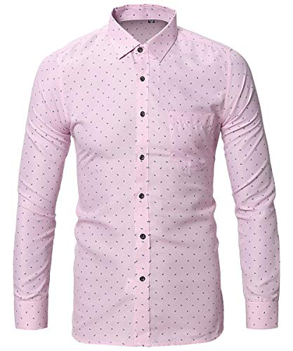 FLY HAWK Mens Dress Uniform Button Down Shirt Slim Fit Tapered Long Sleeved Shirts Pink US M