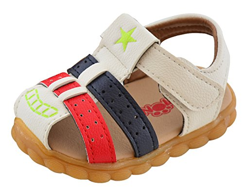 Baby Boy Fisherman Soft Leather Closed-Toe Sandal Beach Flat Shoes (Toddler/Little Kid/Big Kid) Size 4 White