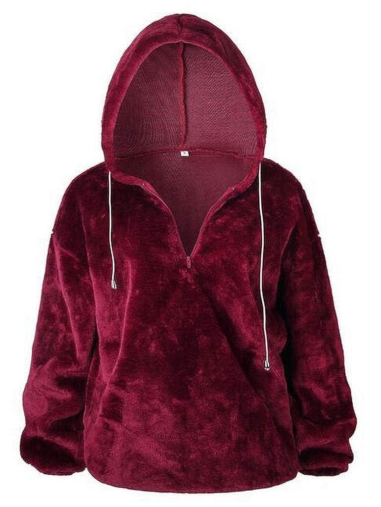 YYG Women Hooded Warm Winter Fuzzy Sherpa Oversized Pullover Sweatshirt Coat Outerwear