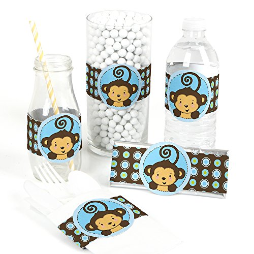 Monkey Boy - DIY Party Supplies - Baby Shower or Birthday Party DIY Wrapper Favors & Decorations - Set of -
