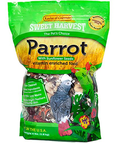 Sweet Harvest Parrot Bird Food (with Sunflower Seeds), 4 lbs Bag - Seed Mix for a Variety of ()
