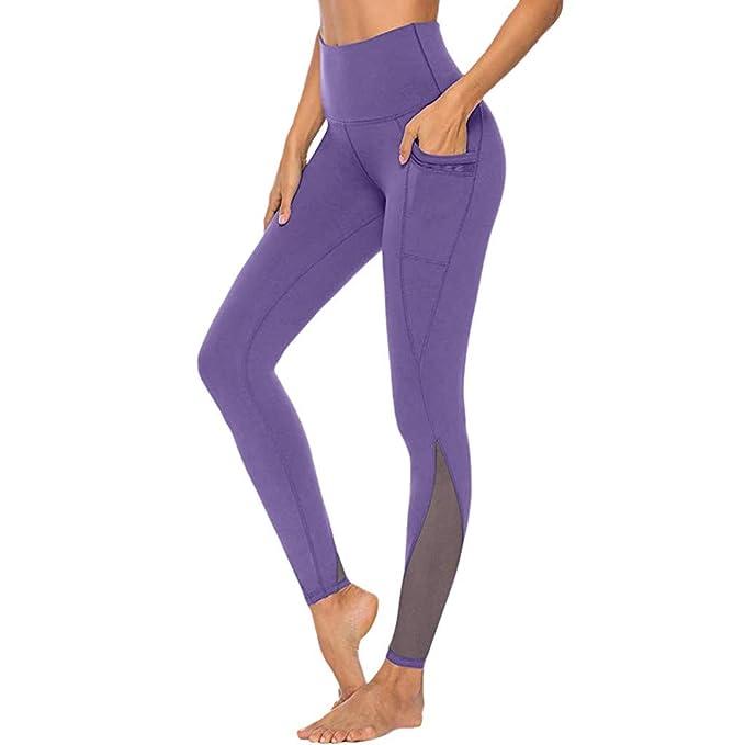 RISTHY Pantalones Yoga Largos Mujer Mallas Fitness Leggins Cuero Adelgazada Elástico Pantalones Profesionales Deportivos Cintura Alta para Yoga ...