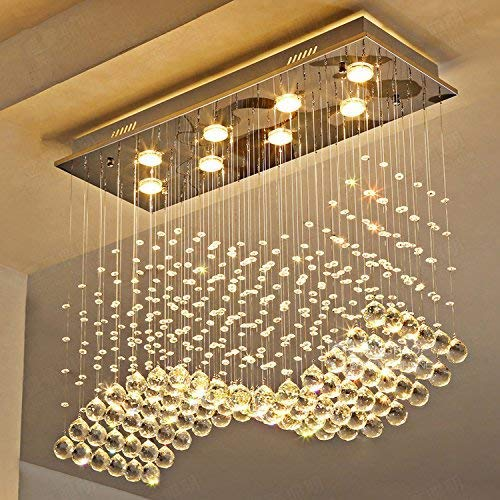 Moooni Modern Crystal Chandelier Lighting Wave Dining Room Ceiling Light Fixture L31.5 x W11.8 x H27.6
