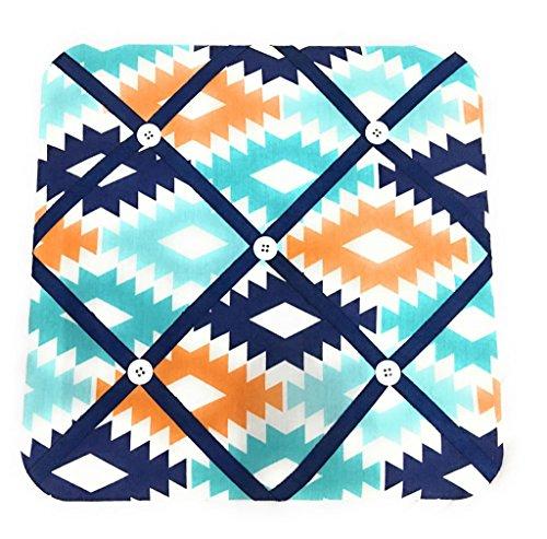Orange Fabric Memo Board - Bacati Aztec Fabric Memory/Memo Photo Bulletin Board, Aqua/Orange/Navy