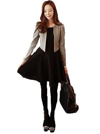 ジャケット レディース 黒 ワンピース グレー 重ね着 風 切り替え 長袖 エレガント ドレス ブラック スーツ (L