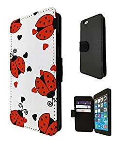 646 - Cool Fun Multi ladybug Design iphone 5C Fashion Trend TPU Leather Case Full Flip Credit Card TPU Leather Purse Pouch Defender Stand Cover