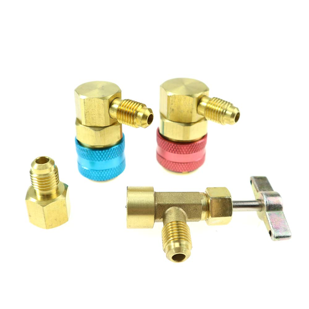 R-12 to R-134a Conversion Quick Connect Coupler Tank Adapter Set with Tank Adapter for 1/4'' and 1/2'' AC Charging Hose