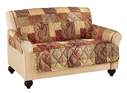 Collections Etc Paisley Floral Patchwork Furniture Protector Cover, Brown, ()