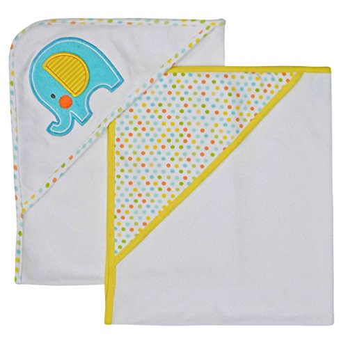 Neat Solutions Applique Print Interlock Knit Terry Hooded Towel Set, Elephant, 2-Count