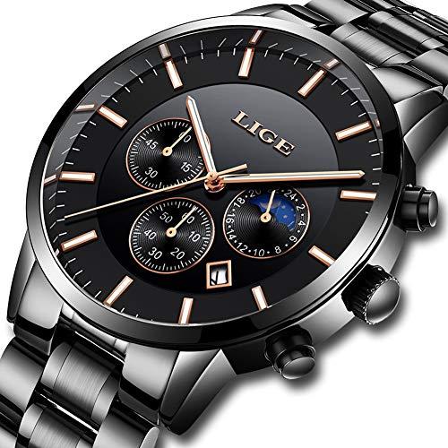 (Mens Watches Sports Military Analog Quartz Watch Man Fashion LIGE Waterproof Chronograph Stainless Steel Band Wristwatch Luminous Date Calendar Clock)