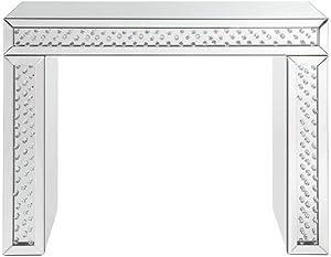Benjara Benzara Beautiful Vanity Desk with Crystal Inlay, Silver,