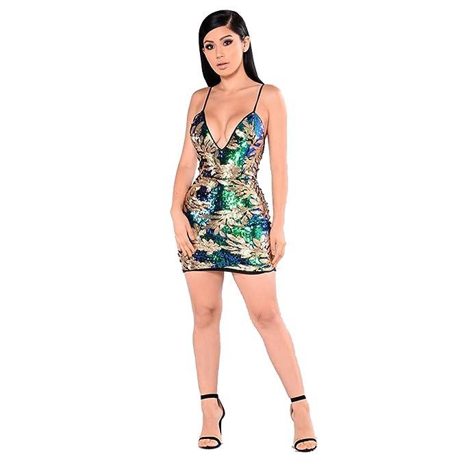 af235647ab Mujer Mini Vestido Ajustado de Moda Lentejuela Espalda V Lentejuelas Mangas  Cortas Vestido Club Vestido Coctel