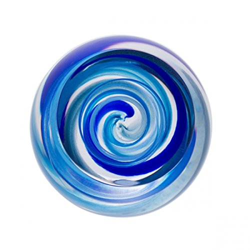 Caithness Glass U18038 Retro Blue Vortex Paperweight by Caithness Glass