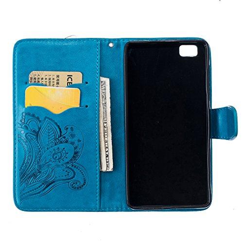 Funda Libro para Huawei P8 Lite, Vandot [Montaje del Coche] Carcasa de Cuero Suave Leather Impresión de Amor, TPU Case Interna (2 en 1, Desmontable), Fuerte Magnético, Función de Soporte, Funda Billet Peacock Flor 1
