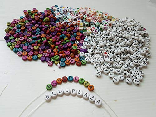 Letter Beads Kit Alphabet Alphabet Bead A-z Bulk 1200pcs Colorful White Round Cube Shape Size 6mm - Acrylic Beads Lettered Bracelets DIY Jewelry Accessories Making for Kids Women Girls Children