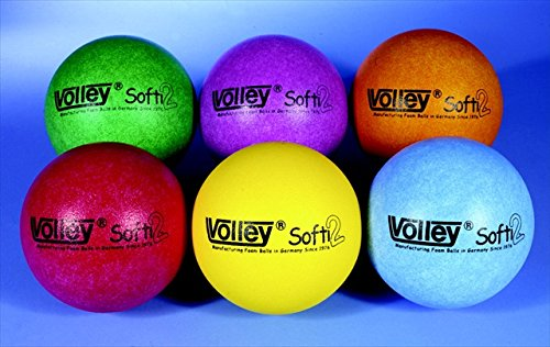 Volley Foam SuperSkin 2 Softi Very Low Bounce Ball, Assorted Colors, 4-3/4'' Dia. (Set of 6)