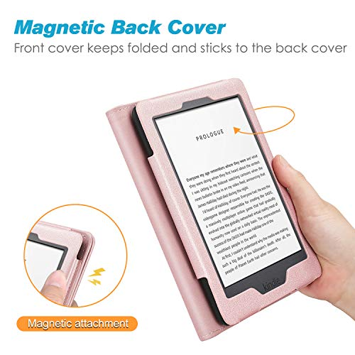 Fintie Stand Case for All-New Kindle (10th Generation, 2019) / Kindle (8th Generation, 2016) - Premium PU Leather Protective Sleeve Cover with Card Slot and Hand Strap, Rose Gold