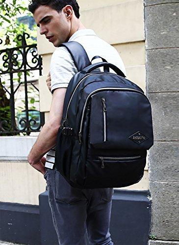 FANDARE Moda Mochila para Ordenador 15.6 Portátil Pulgadas Morral al Aire Libre Viaje Escuela Negocio Bolso Hombres Mochila Excursionismo Impermeable Duradero Alta Calidad Oxford Negro 3 Negro 2