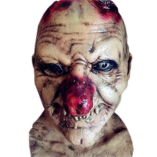 Halloween Scary Zombie Mask - Red Nose Devil Latex Mask Zombie Costume for Halloween Mask Costume Party Props, Cosplay Creepy Party Latex Mask