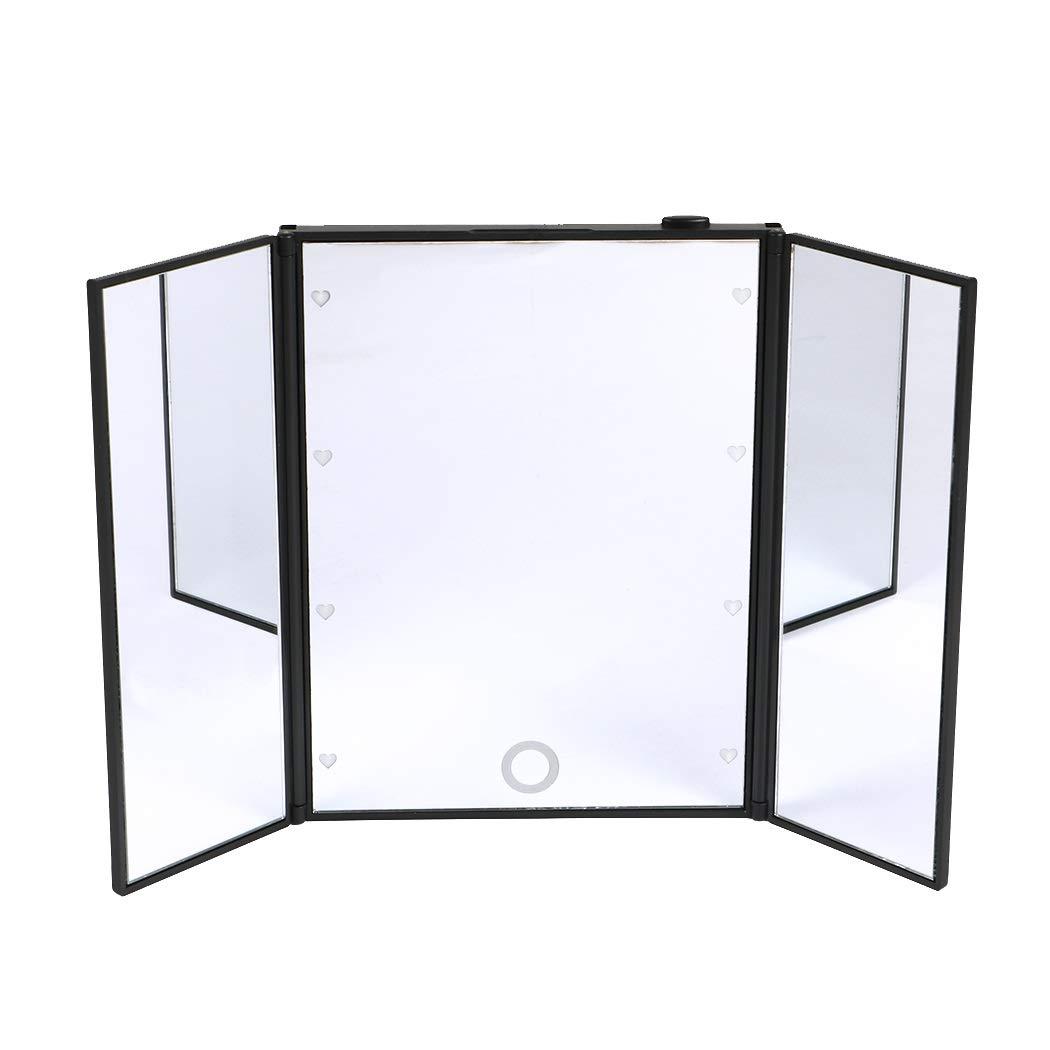 LUVODI Miroir Maquillage Lumineux avec 8 LED Miroir de Table Cosmétique Triple Pliant Portable Écran Tactile pour Voyage Cadeau pour Femme et Homme - Noir (Piles fornies)