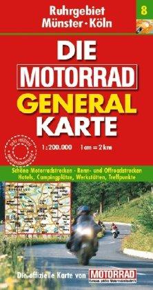 Motorrad Generalkarte Deutschland Ruhrgebiet Münster Köln 1 200 000