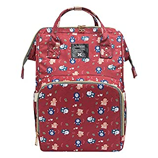 Adoraland Nappy Changing Backpack Baby Changing Bag Waterproof Maternity Backpack, Red Owl, X-Large