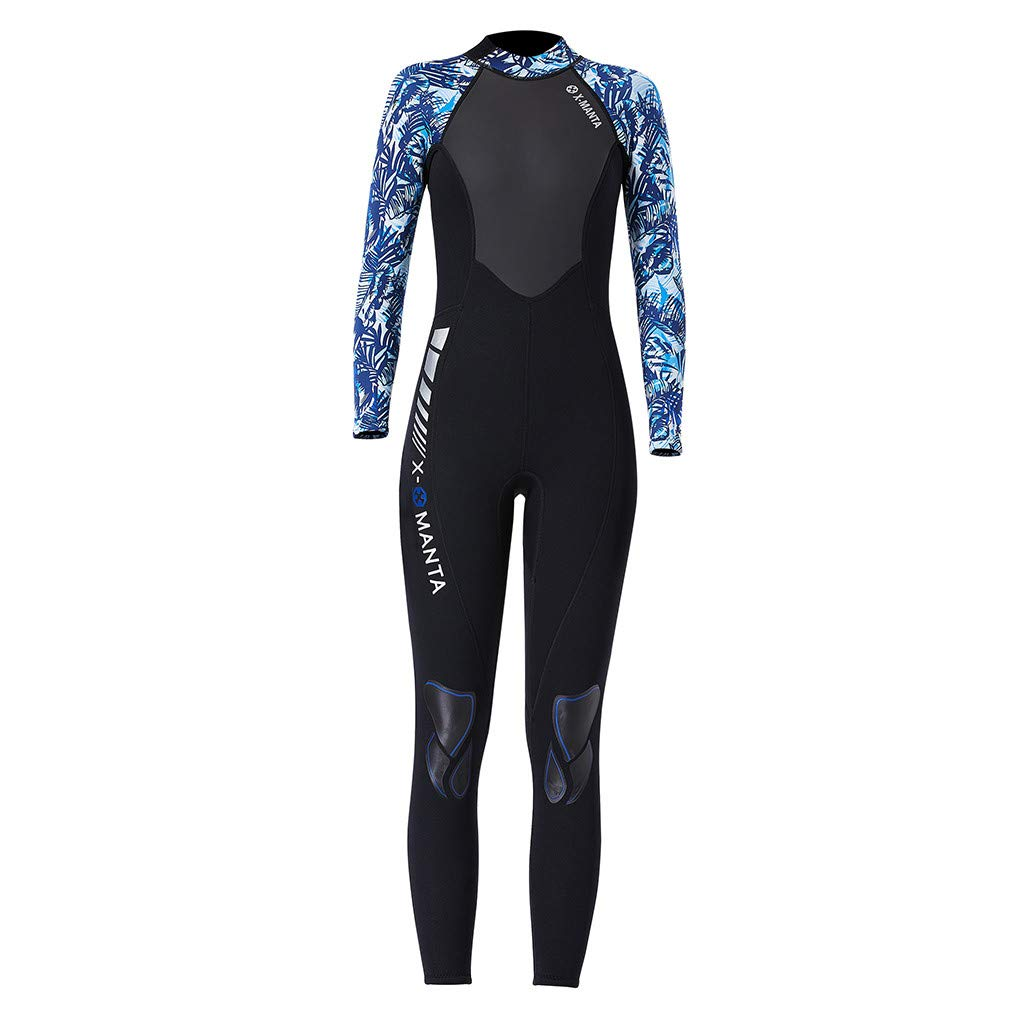 TANLANG Men Women Full Wetsuits Wetsuit Back Zip Long Sleeve for Diving Surfing Snorkeling One-Piece Wet Suit Blue by TANLANG (Image #3)
