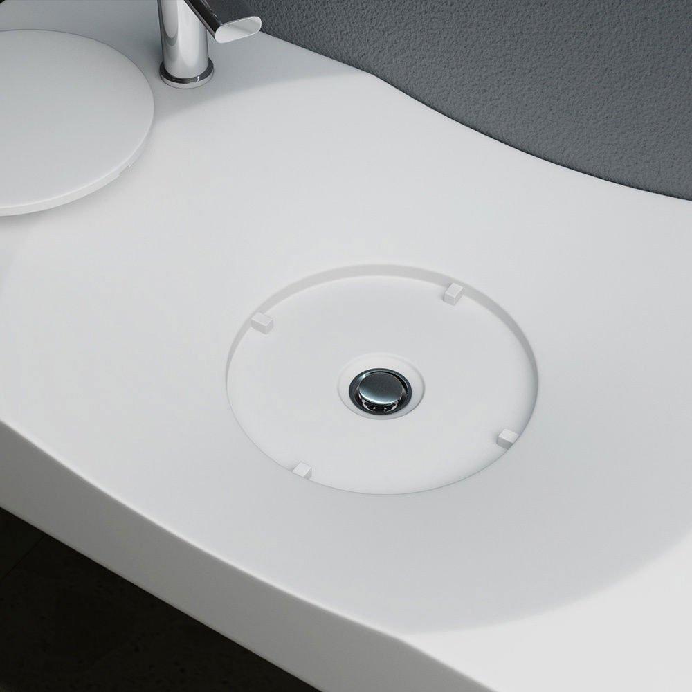 Lavabo vasque /à poser///à monter au mur /évier fonte min/érale avec percage du robinet Colossum 15-L haut 10cm prof 48 cm blanc Larg 100 cm